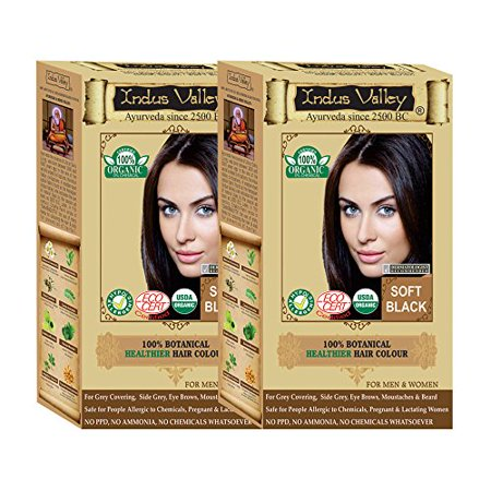 Indus Valley 100% Organic & Chemical Free Botanical One Touch Pack hair Colour For Soft Black Hairs (Set Of 2/30+30=60Gm)