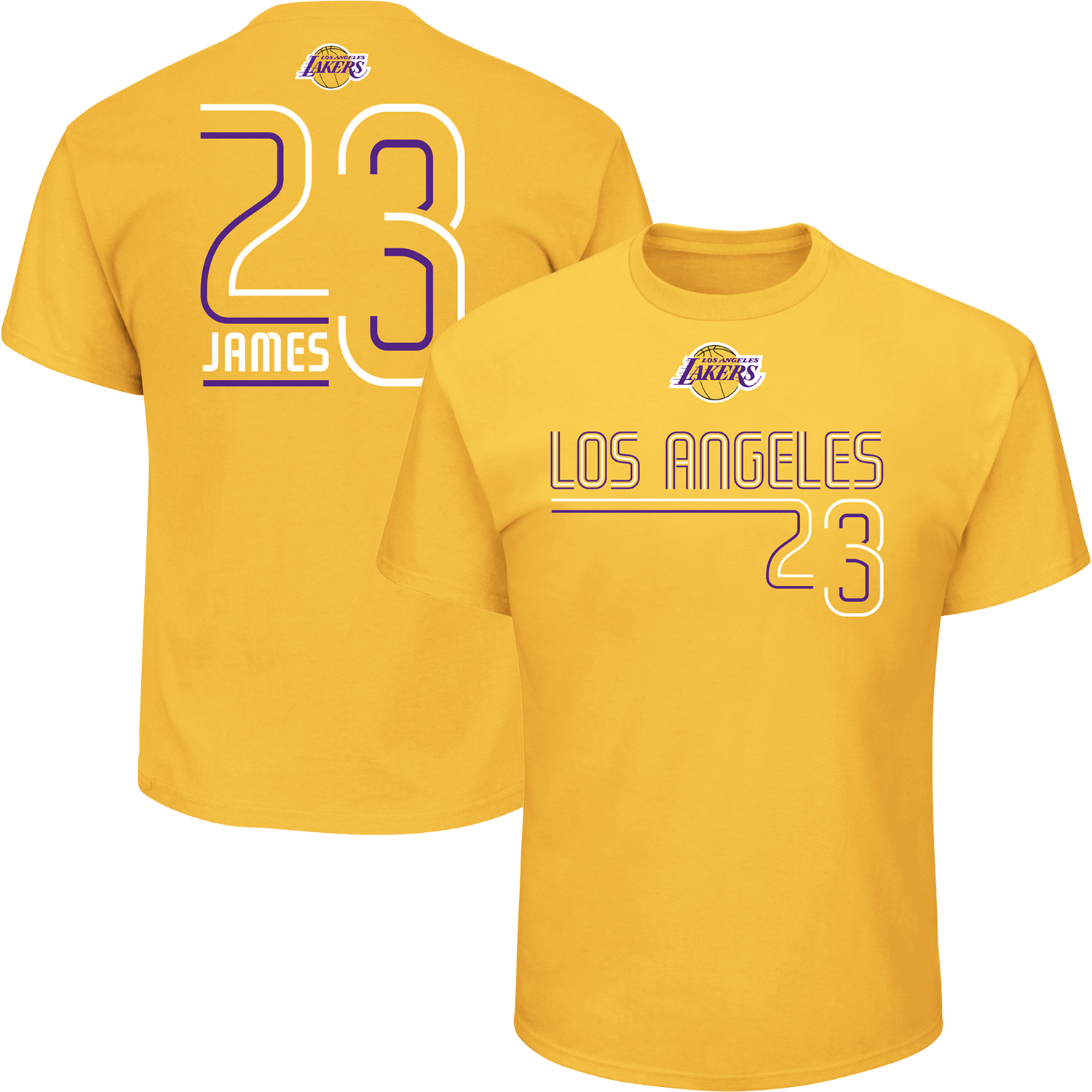 Men's Majestic LeBron James Gold Los Angeles Lakers Spirited Competitor Player Name & Number T-Shirt