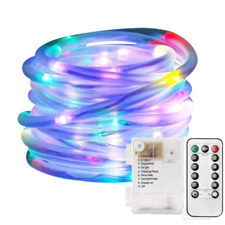 Littlebeetek 33ft 120 Led Dimmable Rope Lights Battery Ed Remote Control 8 Lighting Modes