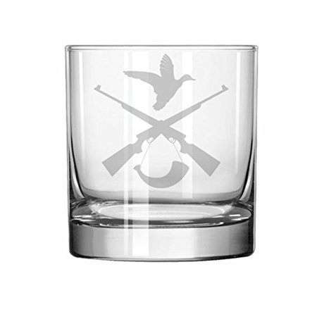 - 11 oz Rocks Whiskey Highball Glass Hunting Rifle Duck Hunter