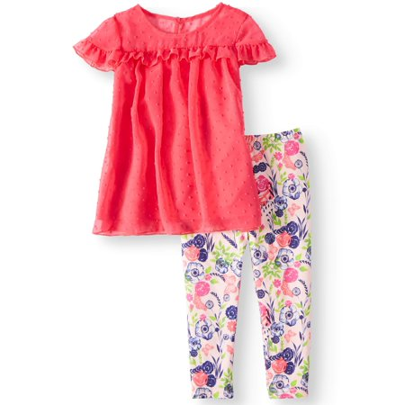 Ruffle Sleeve Blouse & Leggings, 2piece Outfit Set (Toddler Girls) (Rockstar Girl Outfit)