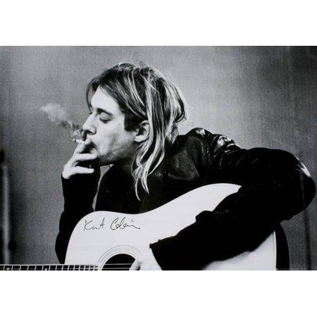 Kurt Cobain (Smoking) With Guitar Black & White Music Poster Poster (Kurt Cobain Grunge)