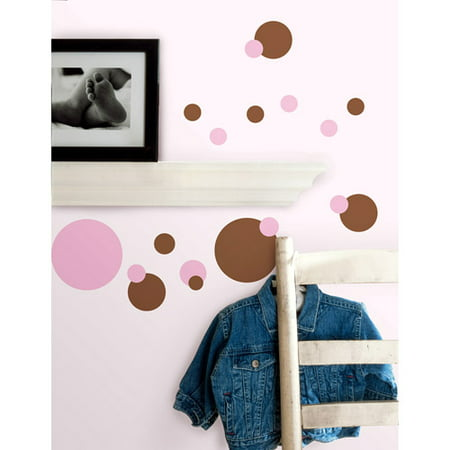 Roommates   Pink Just Dots Peel   Stick Wall Decals