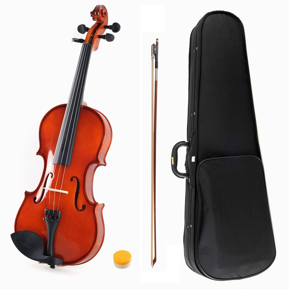 ADM 1/4 Size  All Solid Handcrafted Student Violin Starter Kits, Red Brown lacquer finish