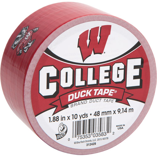 "Duck Brand Duct Tape, College Logo Duck Tape, 1.88"" x 10 yard, Univ. of Wisconsin Badgers"