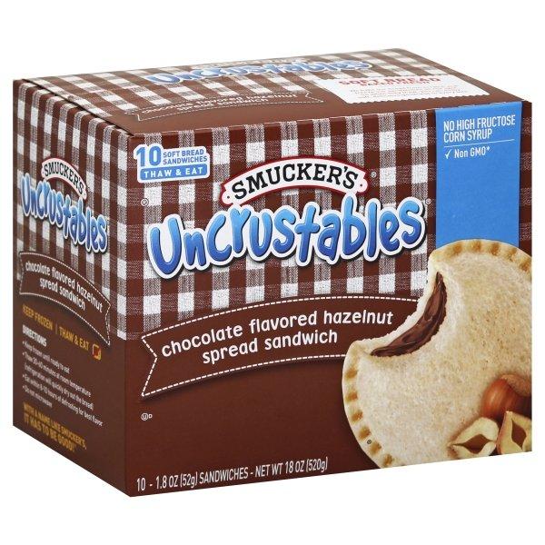 Smucker's Chocolate Hazelnut Uncrustables Sandwich, 10 Count