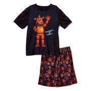 Intimo Five Nights at Freddy's Big Boy 'Mic Night' Pajama Short Set , Multicolor , 10-12