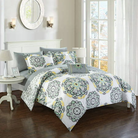 (Chic Home 6-Piece Catalonia Microfiber Printed Medallion REVERSIBLE with Geometric Printed Backing Bed In a Bag Comforter Set with Sheets)