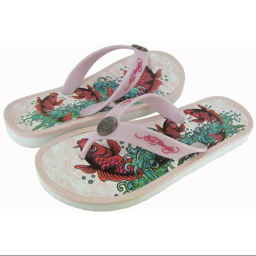 Ed Hardy Youth Beachcomber Sandal, White/Pink, US 1