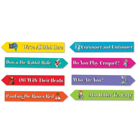 Pack of 12 Alice In Wonderland Phrases Street Sign Cutouts Wall Decor 23.75