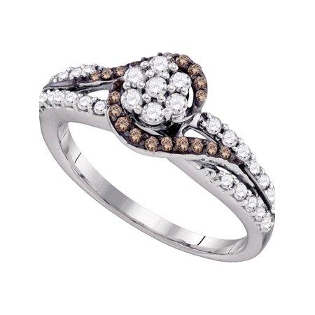 10k White Gold Cognac-brown Color Enhanced Diamond Flower Cluster Bridal Ring 1/2 Cttw - image 1 de 1