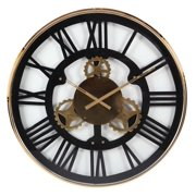 Decmode Industrial 32 Inch Oversized Stainless Steel Gear Wall Clock