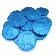 Fort Knox Milk Chocolate 1.5-inch Coins Light Blue Foil, 1 LB