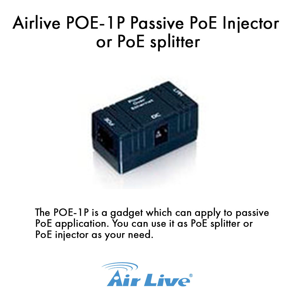 Airlive POE-1P Passive PoE Injector or PoE splitter
