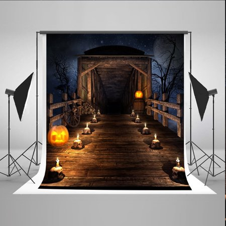 HelloDecor Polyster 5x7ft Skull Wooden Bridge Photo Background Halloween Pumpkin Face Backdrops for Photographer Photography Backdrops