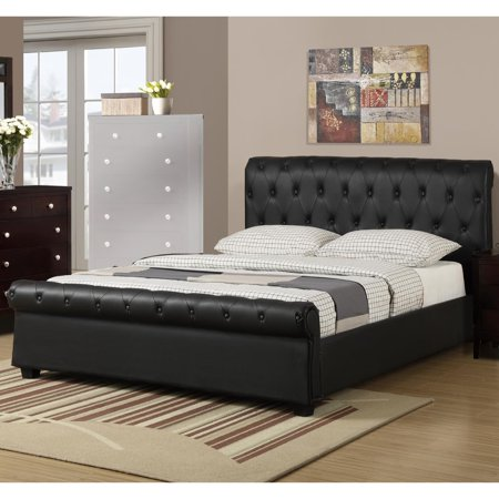 Fb Flat Black Accessories - Chic Queen Button Tufted Bed With Rolled HB And FB In Faux Leather, Black