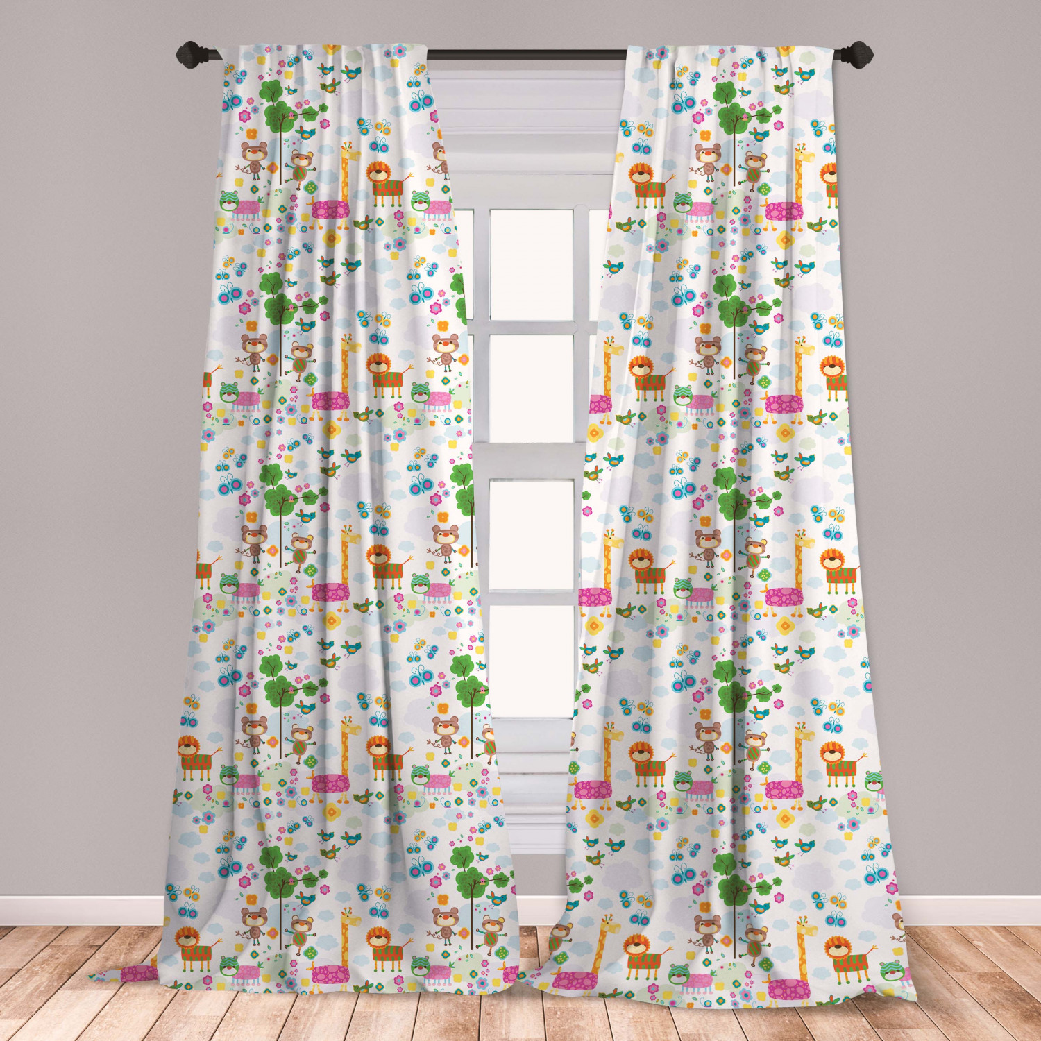 Nursery Curtains 2 Panels Set Floral Background With Funny And Animals Giraffe Lion Monkeys And Butterflies Window Drapes For Living Room Bedroom Multicolor By Ambesonne Walmart Com Walmart Com