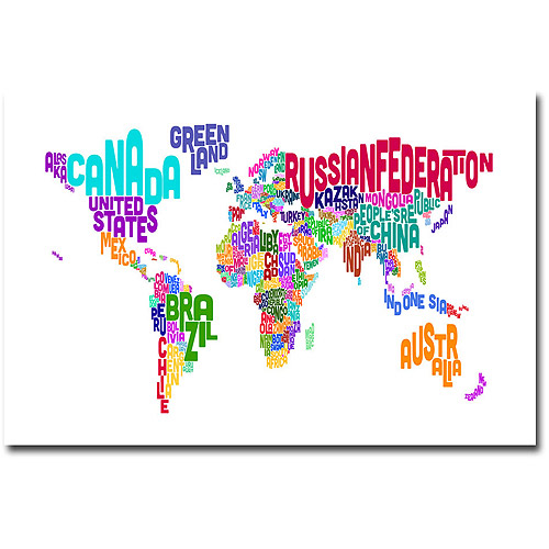 "Trademark Art ""Typographic Text Map"" Canvas Wall Art by Michael Tompsett"