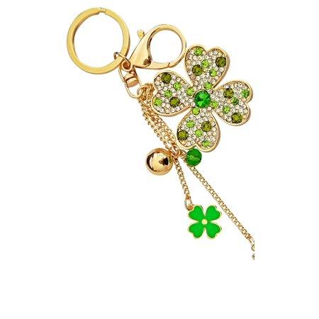 AM Landen Rhinestone Lover Key-chain Bling Key Rings Handbags Charms (Crystal Flower -Green)