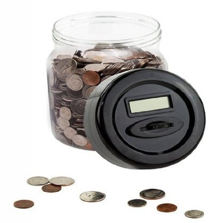 Colored Jars - Automatic Digital Money Counting Jar / Coin Counting Jar - Digital Piggy Bank with LCD Screen Black Colored