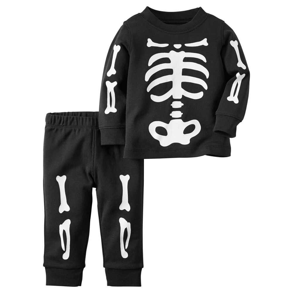 Carters Unisex Baby Clothing Outfit 2-Piece Halloween Skeleton Cotton PJs Black