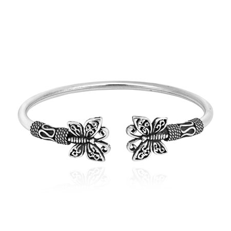 Balinese Inspired Ornate Sterling Silver Butterfly Cuff Bracelet