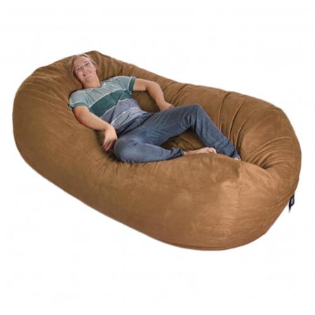 Eight Foot Oval Microfiber And Memory Foam Bean Bag 8 Chocolate
