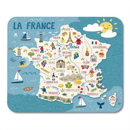 SIDONKU Wine Map of France Travel French Landmarks People Food and Region Europe Mousepad Mouse Pad Mouse Mat 9x10