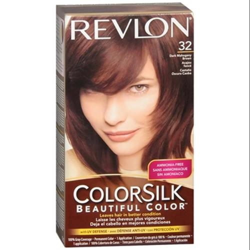 Revlon ColorSilk Hair Color [32] Dark Mahogany Brown 1 ea (Pack of 2)