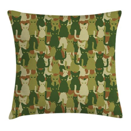Camo Throw Pillow Cushion Cover, Soldier Kittens Protective Cat Army Theme Defense Jungle Colors Military, Decorative Square Accent Pillow Case, 16 X 16 Inches, Green Dark Green Cream, by Ambesonne - Jungle Themed