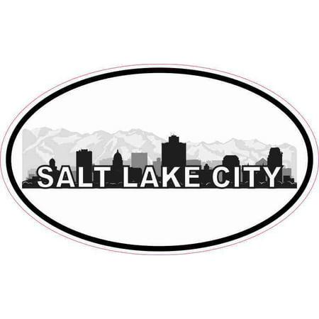 City Sticker Bumper (5x3 Oval Salt Lake City Skyline Sticker Luggage Car Bumper Window Decal )