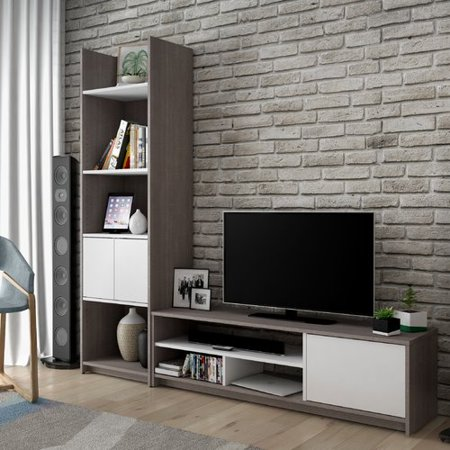 Bestar Small Space 2-Piece TV Stand and Storage Tower Set in Bark Gray and