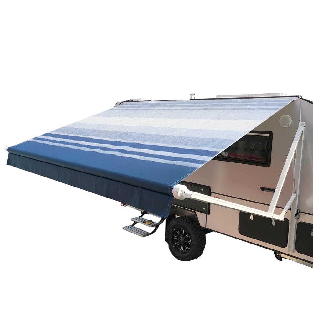 ALEKO Motorized Retractable RV/Patio Awning - 8 x 8 Feet - Blue Striped