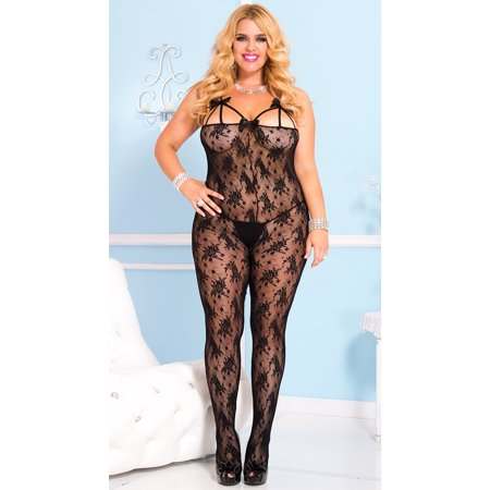 Front Rose Lace Bodystocking (Women's Plus-Size Rose Lace Crotchless Bodystocking with Front Straps and Satin, Black, One Size)
