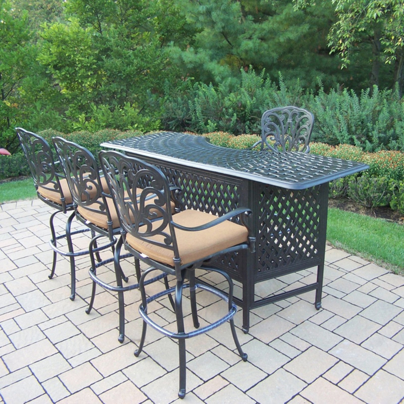 Oakland Living Hampton 5 Piece Party Bar Height Patio Dining Set