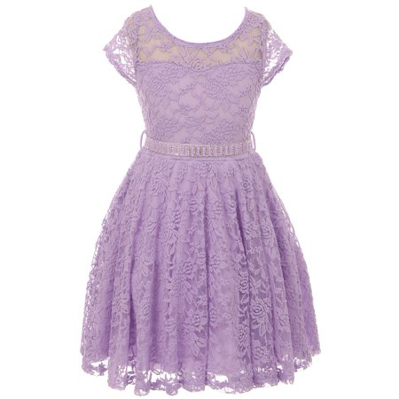 Little Girls Illusion Lace Top Stone Belt Easter Flower Girl Dress Lavender 2 - Lace Lavender Dress