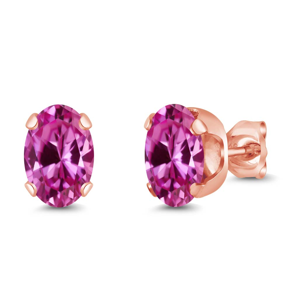 2.00 Ct 7x5mm Pink Created Sapphire 925 Rose Gold Plated Silver Stud Earrings