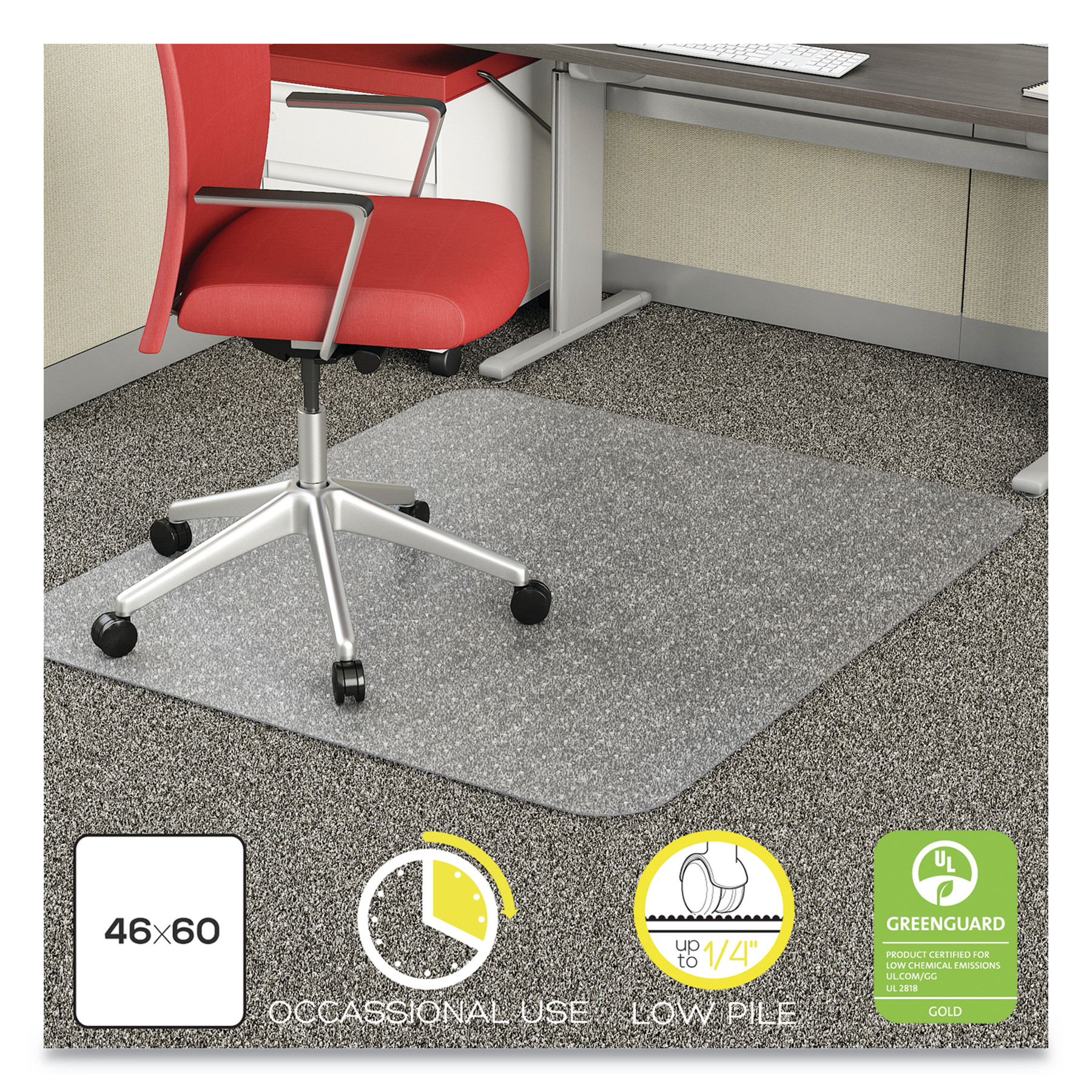 deflecto EconoMat Occasional Use Chair Mat, Low Pile Carpet, Roll, 46 x 60, Rectangle, CR -DEFCM11442FCOM