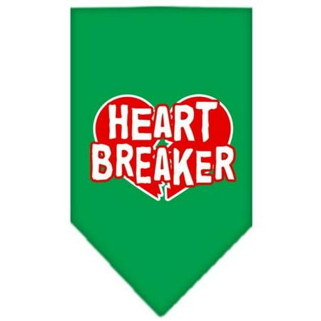 Heart Breaker Screen Print Bandana Emerald Green Large - Green Bandanna