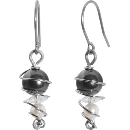 Swirl Solid Titanium Earrings Created with Swarovski Crystals