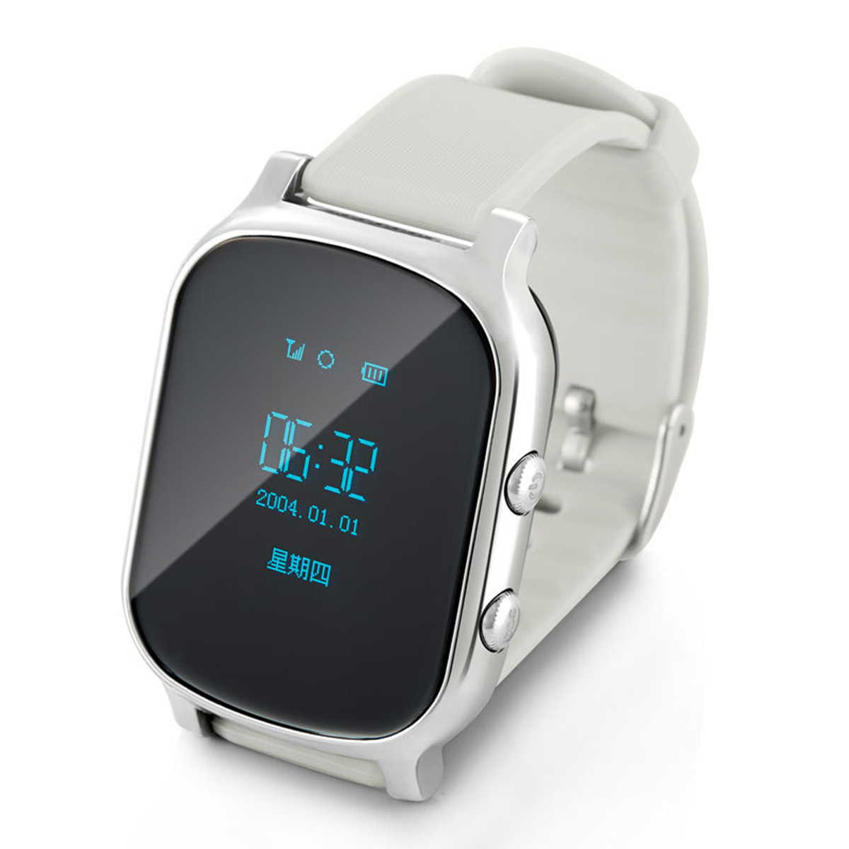 GPS Watch Tracker Smart Brand w/ GPS Tracker, Remote Monitor, SOS, Track Playback - Silver + Black