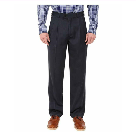 Perry Ellis Classic Fit Double Pleat No Iron Microfiber Melange Pant, 30X30, $85 Double Pleated Trouser