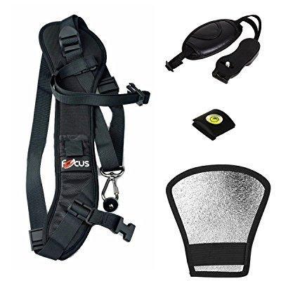 everfunny camera shoulder sling black belt strap for digital slr/dslr damping strap with 3 camera accessories