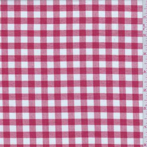 Red/White Check Cotton Shirting, Fabric By the Yard