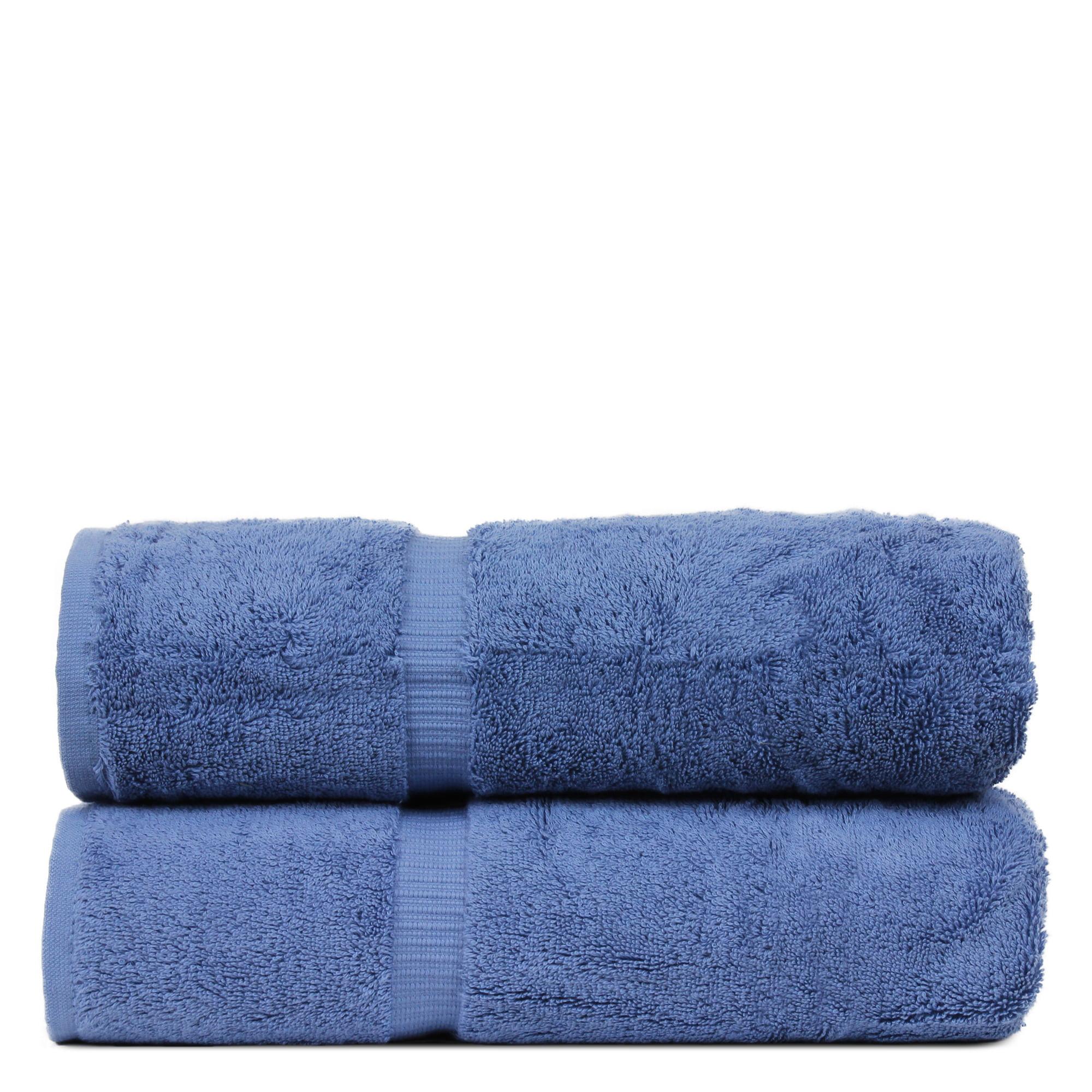 Luxury Hotel & Spa Towel Turkish Cotton Bath Towels - Wedgewood - Dobby Border - Set of 2