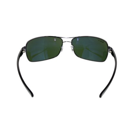 91b220b90 Ray-Ban Men's Polarized RB3379-004/58-64 Silver Rectangle Sunglasses ...