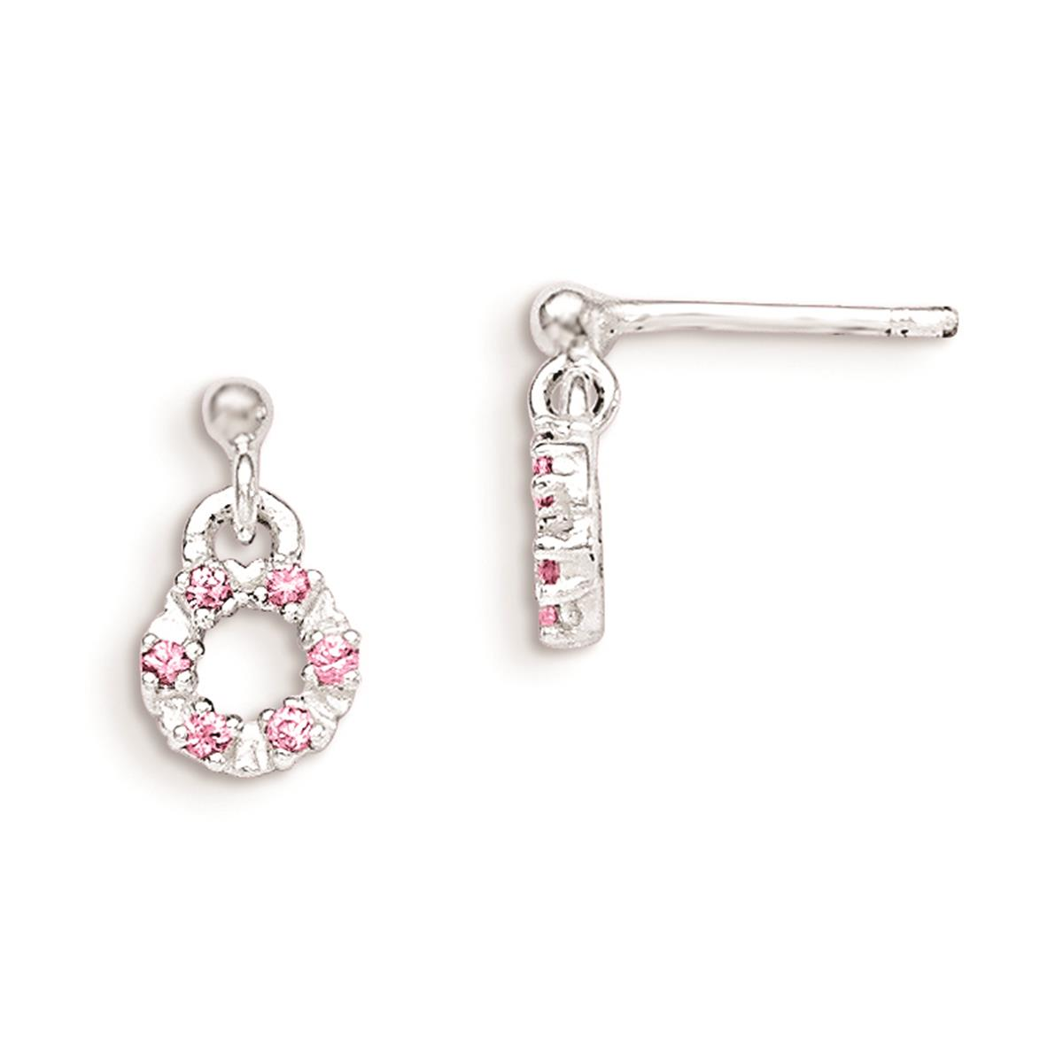 925 SS Polished Pink and White CZ Circle Kid's Post Dangle Earrings 7mm x 12mm