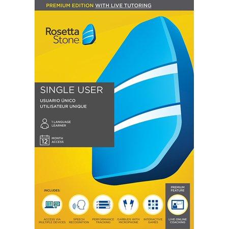 Rosetta Stone  Premium With Live Tutoring  1 User  12 Month Subscription
