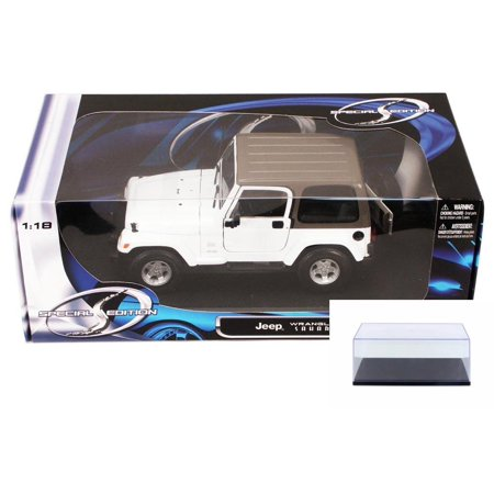 Diecast Car & Display Case Package - Jeep Wrangler Sahara, White - Maisto 31662 - 1/18 Scale Diecast Model Toy Car w/Display Case