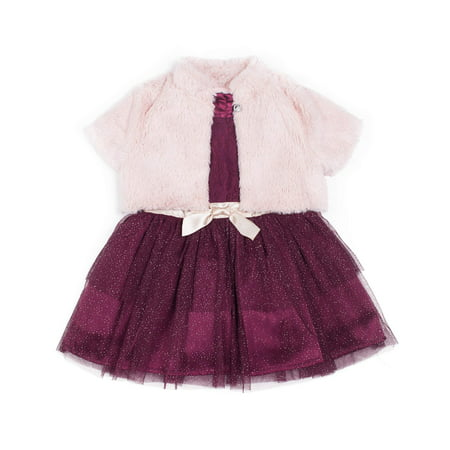 Little Lass Lace Tiered Skirt Special Occasion Holiday Dress with Shrug, 2pc Set (Baby Girls & Toddler Girls) - Girls Velvet Shrug
